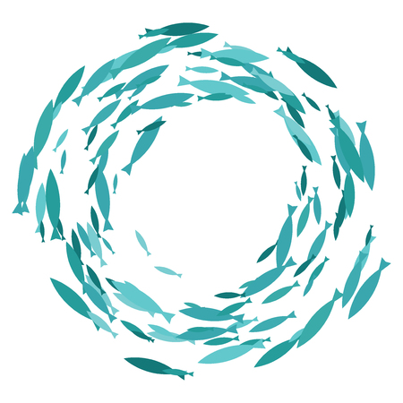 Colored silhouettes school of fish. A group of silhouette fish swim in a circle. Marine life. Vector illustration. Logo fishes. Illustration