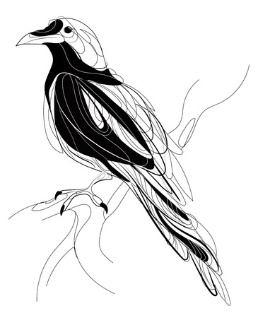 black textured background: A crow sitting on a branch. Stylized magpie on a tree. Black and white crow. Linear Art. Tattoo. Vector illustration. Illustration