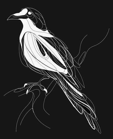 A crow sitting on a branch. Stylized magpie on a tree. Black and white crow. Linear Art. Tattoo.