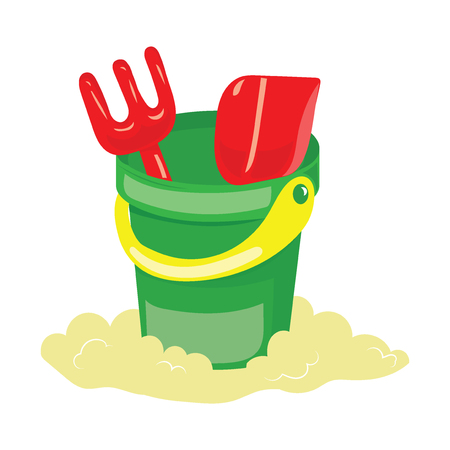 A set for a sandbox for children. Cartoon bucket with a rake and a shovel. Color illustration for kids.