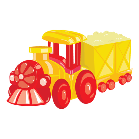 Cartoon locomotive on white background. A toy steam train for children. Colorful vector illustration for kids.