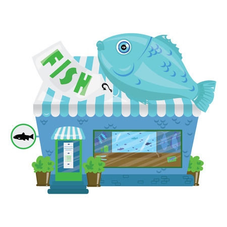 Cartoon seafood shop. A small cute fish market. Business illustration.
