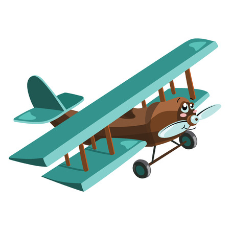 Cartoon airplane. Plastic toy for children. Flying machine. Colorful vector illustration for kids. Illustration