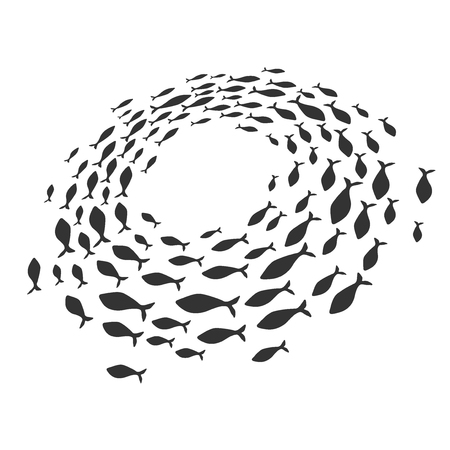 School of fish. A group of silhouette fish swim in a circle. Marine life. Vector illustration. Tattoo.  fishes. Stock Photo