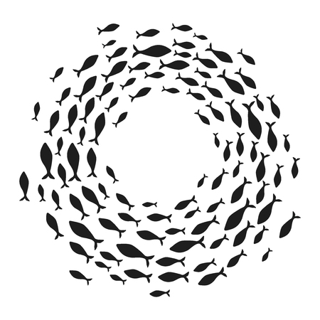 School of fish. A group of silhouette fish swim in a circle. Marine life. Vector illustration. Tattoo.  fishes. Standard-Bild