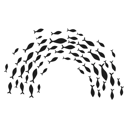 Silhouettes of groups of sea fishes. Colony of small fish. Icon with river taxers. Logo. Stock Photo