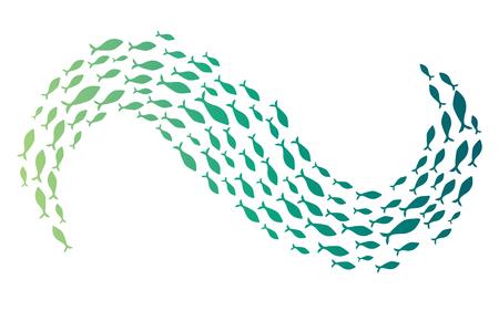 海の魚のグループの色のシルエット。小さな魚の植民地。川 taxers の付いたアイコンです。ロゴ。