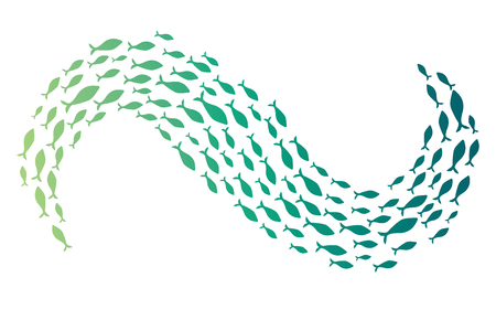 Colored silhouettes of groups of sea fishes. Colony of small fish. Icon with river taxers. Logo. Standard-Bild