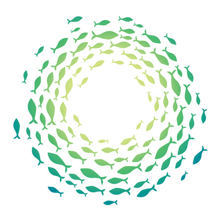 Colored silhouettes school of fish. A group of silhouette fish swim in a circle. Marine life. Vector illustration. Logo fishes. Stock Illustratie