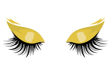Logo of eyelashes. Stylized hair. Abstract lines of triangular shape. Black and white vector illustration. Ilustração