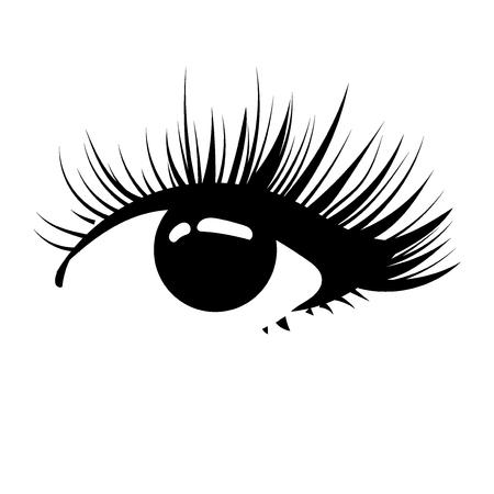 Logo of eyelashes. Stylized hair. Abstract lines of triangular shape. Black and white vector illustration. Vettoriali