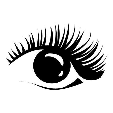 Logo of eyelashes. Stylized hair. Abstract lines of triangular shape. Black and white vector illustration. Stock Photo
