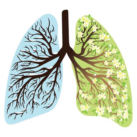 Menschliche Lunge . Atmungssystem . Glückliche Höhe . Licht in Form eines Baumes . Strichzeichnungen . Zeichnung von Hand . Medizin