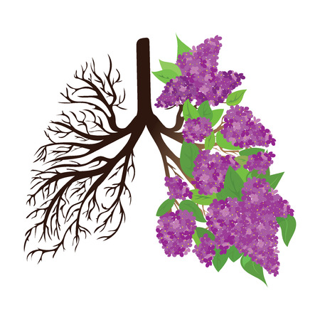 Human lungs. Respiratory system. Healthy lungs. Light in the form of a tree. Line art. Drawing by hand. Medicine. Illusztráció