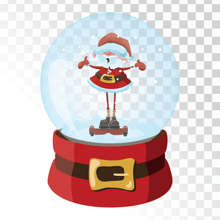 Christmas glass magic ball with Santa Claus. Transparent glass sphere with snowflakes. Vector illustration.