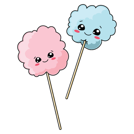 Set of cute cotton candy with a smile. Vector illustration for children. Vettoriali