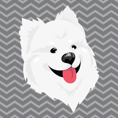 頭に雪が積もった白い犬の漫画の肖像画。ハッピードッグヘッド。新年のシンボル。子供のためのベクターイラストレーション。