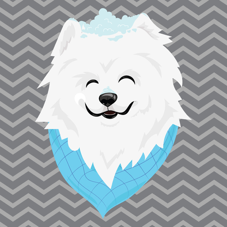 A cartoon portrait of a white dog with snow on his head. Happy dog head. Symbol of the new year. Vector illustration for children.
