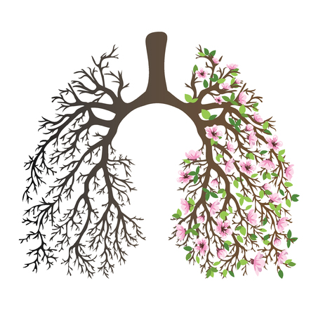 Ludzkie płuca. Układ oddechowy. Zdrowe płuca. Światło w formie drzewa. Grafika liniowa. Rysowanie ręczne. Medycyna.