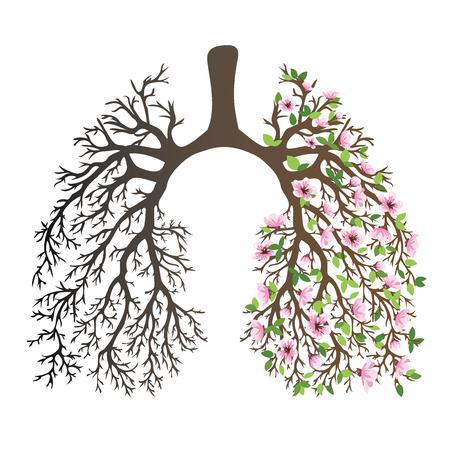 Pulmões humanos. sistema respiratório. Pulmões saudáveis. Luz na forma de uma árvore. Line art. Desenho à mão. Remédio.