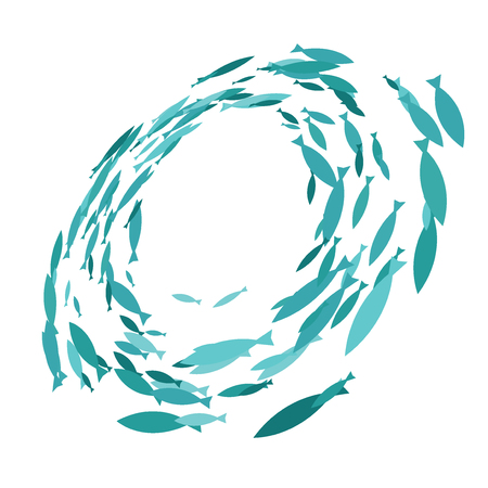 Colored silhouettes school of fish. A group of silhouette fish swim in a circle. Marine life. Vector illustration. Logo fishes. 矢量图像