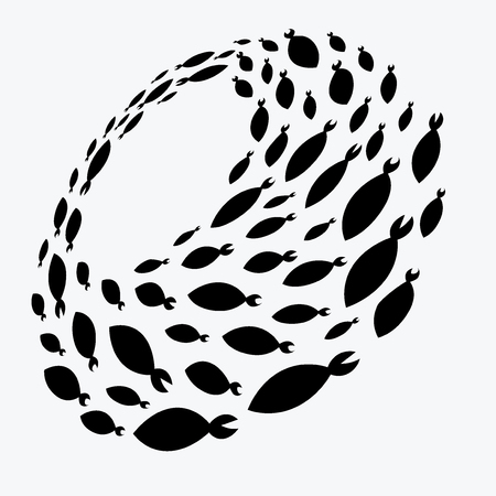School of fish. A group of silhouette fish swim in a circle. Marine life. Vector illustration. Logo.