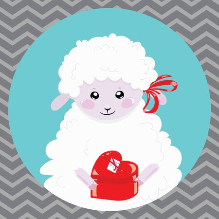 Cartoon portrait of a white sheep with a christmas present. A happy sheep. Vector illustration for children. Illustration