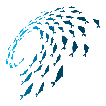 Colored silhouettes school of fish. A group of silhouette fish swim in a circle. Marine life. Vector illustration. Logo fishes. Stock Photo