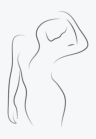 Weibliche Figur. Gliederung des jungen Mädchens. Stilisierter schlanker Körper. Lineare Kunst. Schwarz-Weiß-Vektor-Illustration. Kontur einer schlanken Figur. Vektorgrafik