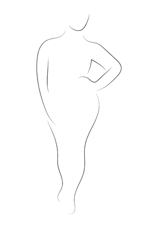 Female figure. Outline of young girl. Stylized slender body. Linear Art. Black and white vector illustration.  イラスト・ベクター素材