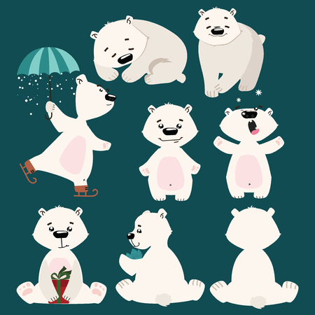Set of polar bears. Collection of cartoon polar bears. Christmas illustration for children.