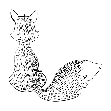 Cartoon fox sitting with her back. Stylized black and white fox. Linear Art. Vector illustration for children.
