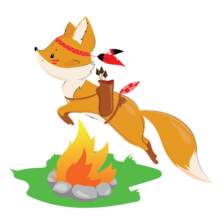 Fox wearing an Indian costume icon.