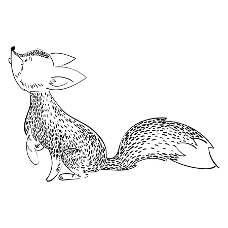 Cartoon fox hunts. A stylized fox is played. Vector illustration for children. Black and white drawing by hand. Wild animal. 向量圖像