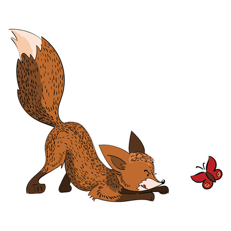 Cartoon fox hunts a butterfly. A stylized fox is played with an insect. Vector illustration for children.