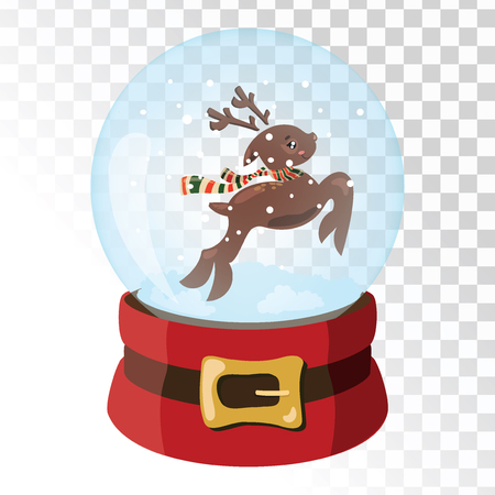 Christmas glass magic ball with Santa Claus deer. Transparent glass sphere with snowflakes. Vector illustration.