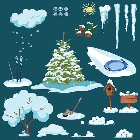 Set of Christmas elements. A collection of cartoon drawings for the New Year. Winter lifestyle. Christmas illustration for clipart.