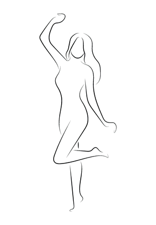 Silhouette of a slender girl with a frame for text. Linear outline of a woman with a board. Black and white drawing. Tattoo. Illustration