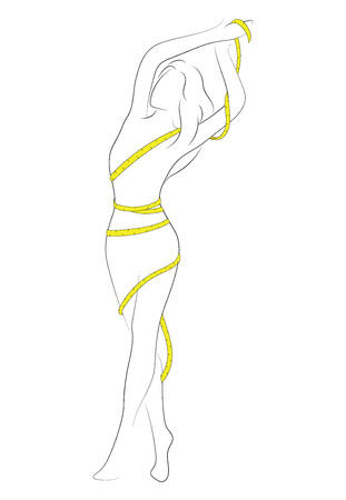 Female figure. Outline of young girl. Stylized slender body. Black and white vector illustration. Contour of a slender figure.