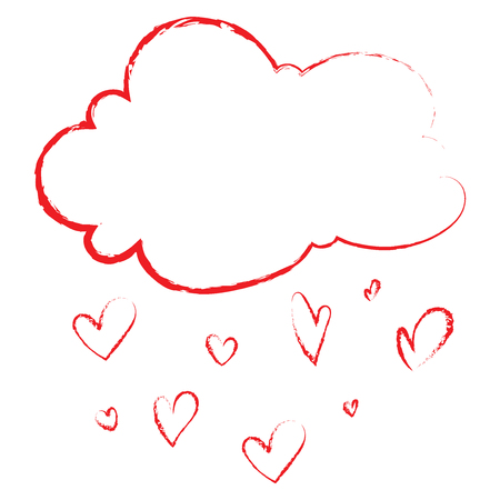 Cloud with hearts. Rain from the hearts. Vector illustration to the day of the holy valentine.