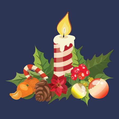 Christmas candle with poinsettia. Illustration of a burning candle. Illustration