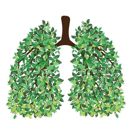 Menselijke longen. Ademhalingssysteem. Gezonde longen. Licht in de vorm van een boom. Lijn kunst. Met de hand tekenen.