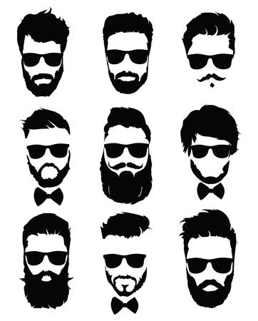 Conjunto de peinados para hombres con gafas. Colección de siluetas negras de peinados y barbas. Ilustración de vector de peluquería. Foto de archivo - 92790460