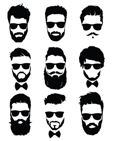 Set of hairstyles for men in glasses. Collection of black silhouettes of hairstyles and beards. Vector illustration for hairdresser. Zdjęcie Seryjne - 92790460