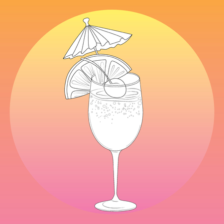 Vector illustration of a summer alcoholic cocktail. Stylized cooling drink with fruits and ice. Illustration