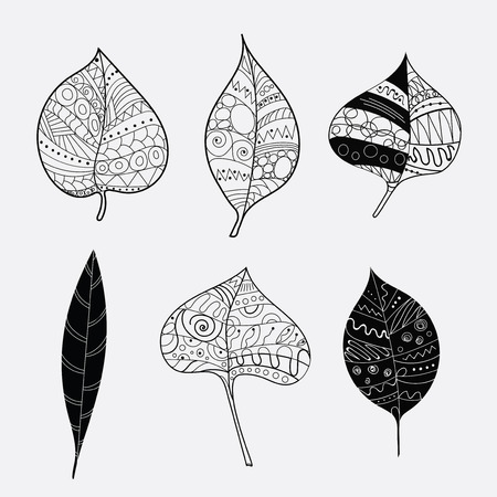 Vector set of stylized tree leaves. Fallen autumn leaves with ornaments. Collection of black and white plants with decorative patterns. Linear Art.