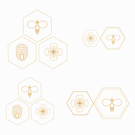Vector stylized honeybee. Logo with a black and white bee. Silhouette of a wasp. Flying insect.