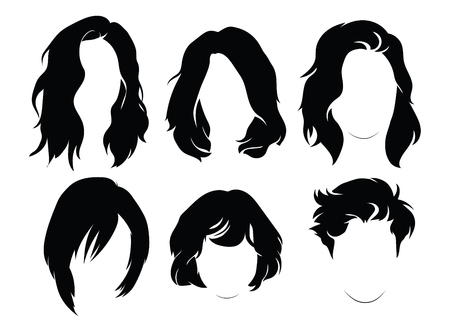 Set of hairstyles for women. Collection of black silhouettes of hairstyles for girls. Logo.