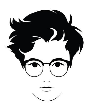 La testa di una bella ragazza con gli occhiali. Volto di una giovane donna con una pettinatura femminile.