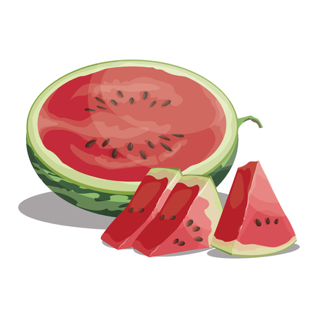 Cartoon watermelon. Sliced sweet watermelon. Pieces of juicy fruit. Summer vitamin fruit. Ilustração